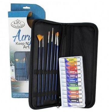 ARTISTS ACRYLIC PAINTING 19 PIECE KEEP N' CARRY ART SET BY ROYAL & LANGNICKEL